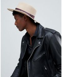 ASOS - Wide Brim Pork Pie Hat In Camel With Paisley Band - Lyst