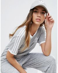 adidas Originals - Originals Logo Cap In Grey - Lyst