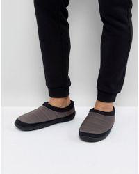 ASOS - Slip On Slippers In Grey Nylon - Lyst