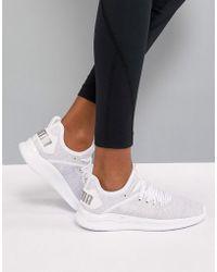 PUMA - Running Ignite Flash Evoknit Trainers In White - Lyst