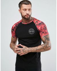Boohoo - T-shirt With Floral Sleeves In Red - Lyst