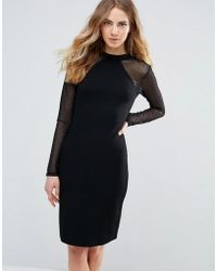 Ichi - Bodycon Dress With Sheer Sleeves - Lyst