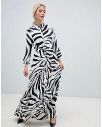 Y.A.S - Zebra Print Shirt Midi Dress - Lyst
