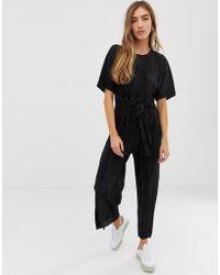 0effc6447fe0 ASOS - Plisse Tie Front Culotte Jumpsuit - Lyst