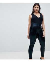 ASOS - Curve High Waisted Wet Look Leggings - Lyst