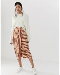 ea5d3d30 ASOS - Safari Stripe Double Breasted Pencil Skirt - Lyst