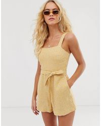 & Other Stories - Other Stories Square Neck Linen Romper In Yellow Gingham - Lyst