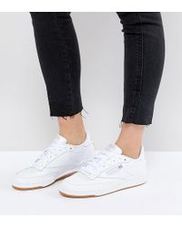 a912e564953f1 Reebok - Classic Club C 85 Trainers In White Leather With Gum Sole - Lyst