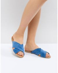 Pieces - Cross Over Flat Mule - Lyst