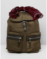 Pull&Bear - Nylon Backpack In Khaki - Lyst