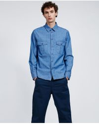 Aspesi - Chambray Cotton Shirt Raf - Lyst