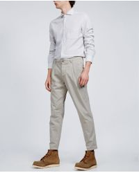 Aspesi - Garment Dyed Cotton Pleated Trousers Funzionale Pince - Lyst