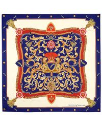 "Aspinal - Signature Silk Twill Scarf In Blue (27.5"" X 27.5"") - Lyst"