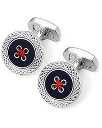 Aspinal - Engraved Edge Button Cufflinks - Lyst