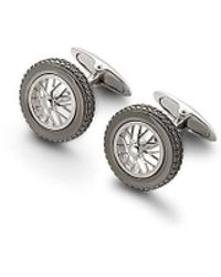 Aspinal of London - Classic Sterling Silver Spoked Wheel Cufflinks - Lyst