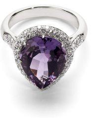 Aspinal of London - Hollywood Teardrop Amethyst & Diamond Ring - Lyst