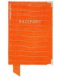 Aspinal of London - Ladies Exquisite Orange Leather Deep Shine Small Croc Passport Cover - Lyst