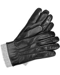 Aspinal - Cashmere Lined Leather Gloves With Knitted Cuff - Lyst