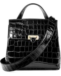 Aspinal of London - Ladies Black Soho Deep Shine Croc Backpack - Lyst