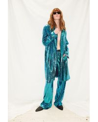 Assembly - Blue Sequin 3/4 Coat - Lyst
