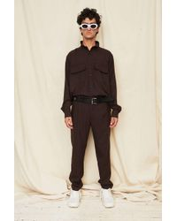 Assembly - Brown Gingham Poet Shirt - Lyst