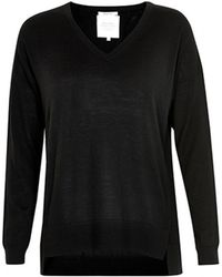 Part Two - Adesina Fine Knit Sweater With V Neck In Black - Lyst