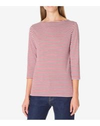 Sunspel - 3/4 Sleeve Striped Boat Neck T-shirt In Auburn / White - Lyst
