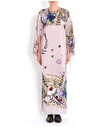 Erika Cavallini Semi Couture - Floral Print Long Dress With Pockets In Dusty Rose - Lyst