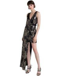 Patrizia Pepe - Dress 2a1905 Aysmmetric Evening Black Gold - Lyst