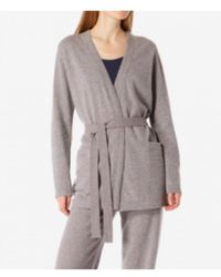 Sunspel - Lambswool Belted Cardigan In Marble - Lyst