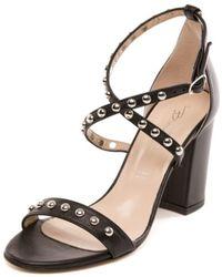 4fc199182c Miu Miu 'sandali' Ankle Strap Sandal in Metallic - Lyst