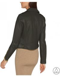 MICHAEL Michael Kors - Michael Kors Leather Jacket In Green - Lyst