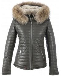 Oakwood - Grey Leather Quilted Happy Jacket - Lyst