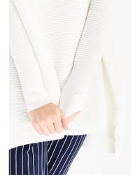 Paisie - Ribbed Jumper With Side Splits White - Lyst