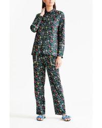 YOLKE - Botanist Black Cotton Pyjama Set - Lyst