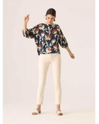 Nice Things - Floral Top In Navy And Brown - Lyst