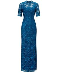 Adrianna Papell - Guipure Long Dress In Evening Sky - Lyst