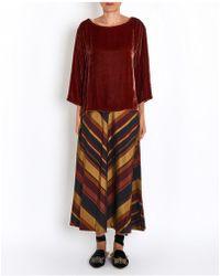 Diega - Velvet Tunic Top In Brick Red - Lyst