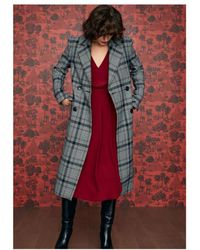Idano - Citrouill Double Breasted Checked Coat - Lyst