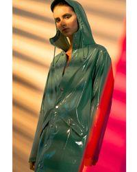 Rains - Long Glossy Faded Green Jacket - Lyst