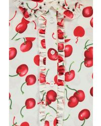 Essentiel - Antwerp Off White And Red Cherry Print Shirt Dress With Embr - Lyst