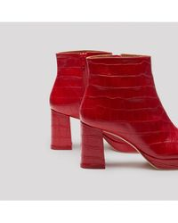Miista - Edith Red Croc Leather Boots - Lyst