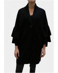 D. EXTERIOR - Black Ruffle Sleeve Coat 45416 - Lyst
