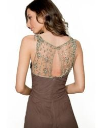 Jenny Packham - Beaded Silk Gown Espresso - Lyst