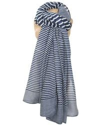 Atterley - Navy Striped Scarf - Lyst