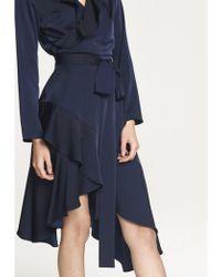 Paisie - Satin Frill Wrap Dress With Asymmetric Hem In Navy - Lyst