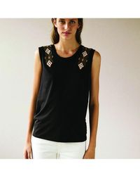 INTROPIA - Embroidered Vest Black - Lyst