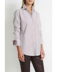 Hartford - Striped B.d. Shirt In Burgundy - Lyst