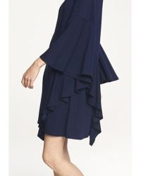 Paisie - Round Neck Dress With Asymmetric Side Frill Overlay In Navy - Lyst