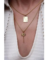 Anna + Nina - Palm Charm Gold Necklace - Lyst